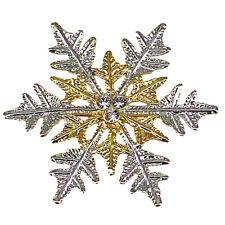 RUCINNI Snowflake Brooch, 20K Gold Plated & Imitation Rhodium,Swarovski Crystals