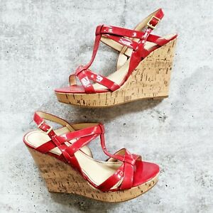 Enzo Angioilini Red Patent Leather strappy Cork Wedge Ankle Strap Sandals 8.5