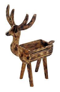 Blumentopf - Holzhirsch Pflanzkasten Pflanzkübel aus Holz Blumenkaste Gartendeko
