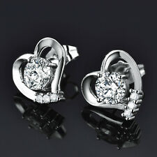 Heart Studs Silver White Gold Filled Diamond Sapphire Women Lady Party Earrings