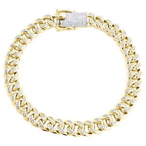 "Sterlingsilber Diamant Miami Kubanische Verbindung 8.75mm Armband 8 "" Kiste Clip"