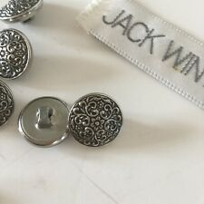 9 metal shank button Matching floral Jack Winter shirt top Silver 5/8""