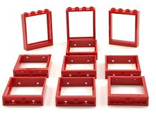 Lego 10 New Red Door Frames 1 x 4 x 4 NO GLASS Town Home House Pieces