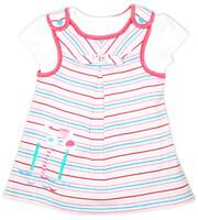 Girls Dress 2 in 1 Top T-Shirt Bird Applique Striped Newborn Baby - 12 Months