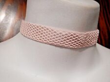 STRETCHY PASTEL PINK FISHNET BAND CHOKER ribbon necklace elastic punk lolita 1Y