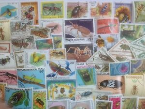 100 Different Insects/Bugs on Stamps Collection