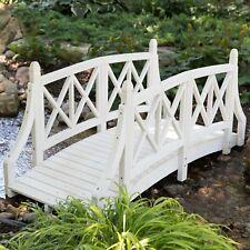White 6 Ft Slat Wood Garden Bridge Outdoor Home Furniture Garden Backyard