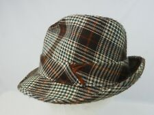 Vintage Lids Plaid Striped Brown & White fedora Hat Size 7