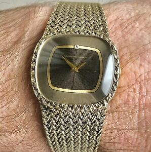 Very unusual vintage 1970s Girard Perregaux solid silver gents wristwatch.