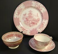 Antique England Allertons Red Chinese Pagoda  Luncheon Set