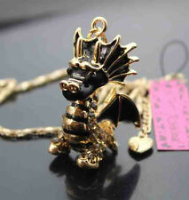 H614#3    Betsey Johnson Crystal Enamel dragons Pendant Sweater Chain Necklace