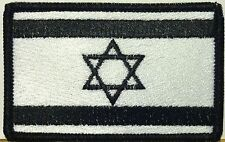 ISRAEL JEW Flag Iron-On Tactical Patch Black & White Version, Black Border #4
