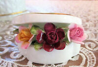 "ROYAL ALBERT   ""Old Country Roses""  Clam Shell with Applied Flowers   Mint Cond"
