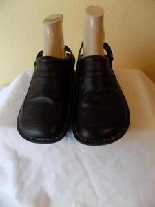 Alegria By PG Lite Black Leather  Clogs Mule  Shoes Size 37 US 7-7.5