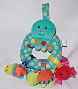 Hanging Octopus Rattle Plush Baby Toy Blue Squid Sea Life Infant Bright Start