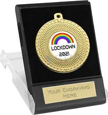Rainbow Lockdown 2021 Medal in Presentation Box Free Engraving Metal Gold School