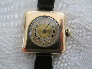 Antique Square Rolex Womens 15ct Gold Watch Wristwatch Working needs Service
