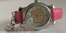 NEW! SANRIO HELLO KITTY WHITE DIAL SILVER BEZEL PINK LEATHER STRAP WATCH SALE