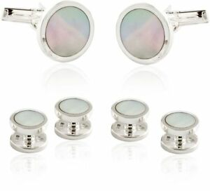 Solid 925 Sterling Silver Mother of Pearl Tuxedo Formal Set from Cuff-Daddy