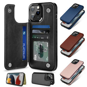 For iPhone 13 12 Pro Max / 13 12 Mini Leather Card Slot Wallet Stand Case Cover