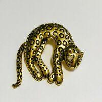 Vintage Gold Tone Laser Cut Pewter Preying Leopard Brooch Pin.