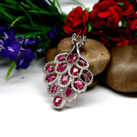 NATURAL 4 X 6 mm. OVAL RED RUBY & WHITE CZ PEACOCK PENDANT 925 STERLING SILVER