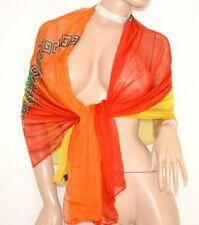 MAXI ETOLE cérémonie femme rouge vert orange jaune foulard effet soie voilé 80X