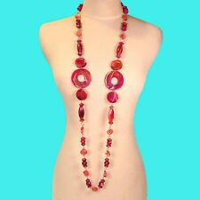 "52"" Very Long Red Marbleized Hand Painted Wood Bead Shell Chip Handmade Necklace"