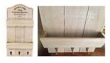 Rustic Vintage Storage Shelf Wall Unit Key Hooks Letter Rack Shabby Chic Hanging