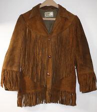 Pioneer Wear Ranch Western Fringe Brown Leather Womens Jacket Coat Vintage