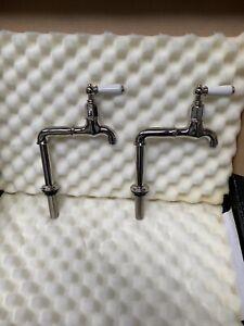 Polished Nickel Belfast Sink Lever Kitchen Taps - Perrin & Rowe Mayan Stunning