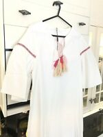 Ladies Gorgeous BOUTIQUE White Tassel Dress Pink Beach Holiday Size 10 NEW