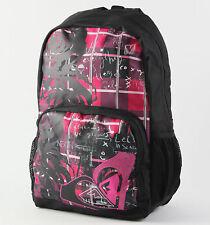 New Womens Girls Roxy Pink & Black Clear Sight Backpack School Bag Purse
