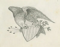 ANTIQUE 1874 AMERICAN FOLK ART EAGLE SHIELD DRAWING OWENSBORO KY PARRISH STIVERS