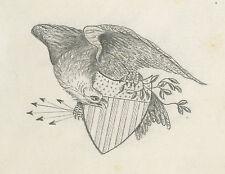 ANTIQUE 1874 AMERICAN FOLK ART EAGLE SHIELD DRAWING OWENSBORO KY PARRISH STIVERS