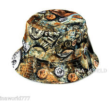 Bucket hat Antique Coin printed Boonie cap for Fishing Hunting Outdoor- Brown