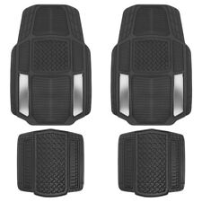 ACDelco All Weather Silver Rubber Car Floor Mats 4pc Front & Rear Set