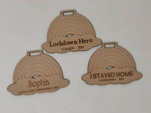 Personalised Lockdown Hero Medal, Laser Engraved Medal with Rainbow Ribbon