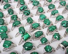 FREE wholesale lot 10pcs Man Jewelry Malachite Gemstone Silver Tone Rings