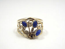 Vtg Native American Sterling Silver Flower Feather & Blue Lapis Ring, size 8.5