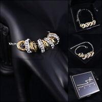 Armschmuck, Armband *Bewegliche Ringe* Weißgold pl., Swarovski Elements, +Etui