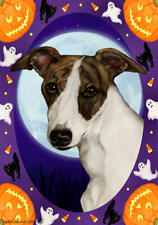 Whippet Brindle and White Halloween Howls Flag