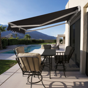 Luxury Roll Out Retractable Folding Arm Awning BLACK 3 sizes