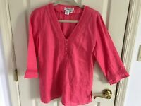 Woman's Coldwater Creek size small pink 100% linen V neck pin tuck tunic top