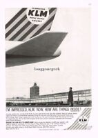 1960 KLM ROYAL DUTCH AIRLINES Man Looking Up At Tail Of Plane Vtg Print Ad