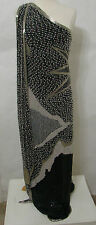 Black White Silver & Gold 100% Pure Silk Full Beaded One Shoulder Formal Gown L