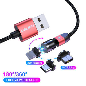 3 in 1 Magnetic Fast Charging USB Cable Charger 5A Phone Type-C Micro USB IOS UK