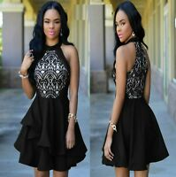 Sz 12 14 Black Skater Lace Sleeveless Formal Gown Cocktail Party Sexy Chic Dress