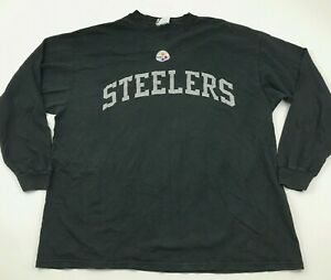 Majestic Pittsburgh Steelers Shirt Size Extra Large XL Long Sleeve Tee Sewn On