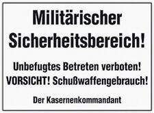 MILITÄRISCHER SICHERHEITSBEREICH !!! 10x15 cm Blechkarte Blechschild 302-083